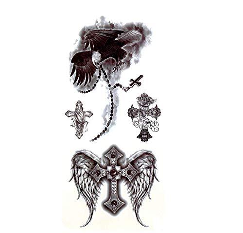 Ruofengpuzi bald eagle 4pcs impermeabile tatuaggio temporaneo adesivi tattoo angelo di croce uomini falso tatuaggio temporaneo donne