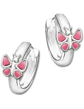 CLEVER SCHMUCK Silberne Kindercreolen Schmetterling rosa 12 x 2,5 mm STERLING SILBER 925 im Etui
