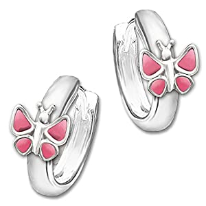Clever Schmuck Silberne Kinder Creole Schmetterling rosa – pink 12 x 2,5 mm STERLING SILBER 925