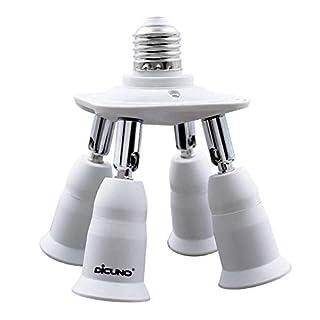DiCUNO 4 in 1 E27 Socket Splitter Adapter, E27 Standard LED Bulbs Holder, Converter Chandelier Socket with 360 Degrees Adjustable 180 Degree Bending