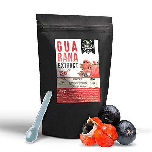 Guarana seed EXTRAKT | 10% Guaranaine | 100g PULVER | ohne Zusatzstoffe und laborgeprüft | hochdosiert, 100% vegan & in Deutschland abgefüllt (Pulver 100g)