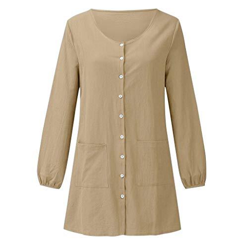 Damen Casual Tops Mode einfarbig Langarm Shirt Freizeit Einreiher Taste v-Ausschnitt Pullover Tasche lose Bluse Partei tägliche Tunika Beige XL