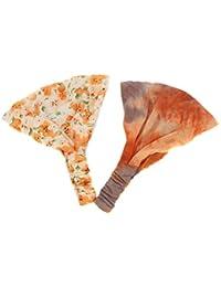 Making Waves de las mujeres suave elástico tela diadema Duo multicolor Peach Orange Tie talla única