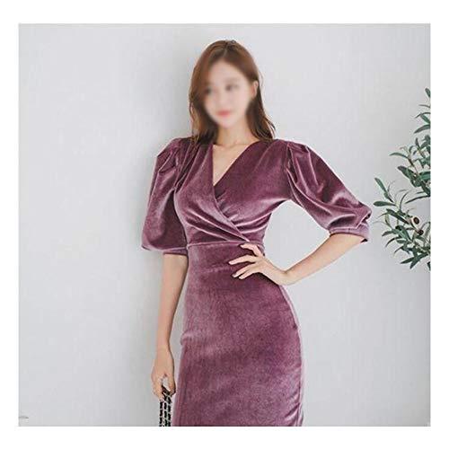 Bademode Spring Puff Sleeve Velvet Vielseitiges Kleid Bikinis (Farbe : Lila, Size : L) -