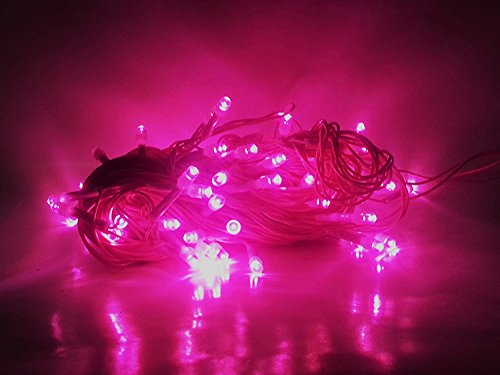 Ascension® Set Of 6 Pink Rice Light Of 8 Meter Serial Bulbs Decoration Lighting For Diwali Christmas With 6+1 Connectors Wire Jointer (female Sockets)