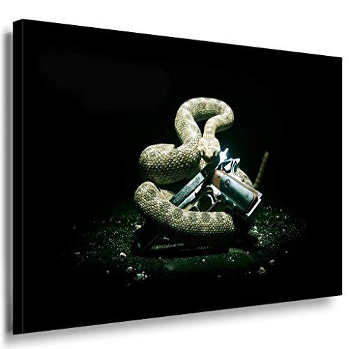Hitman Schlange Pistole Schwarz Leinwandbild / LaraArt Bilder / Leinwand Bild + Mehrfarbig + Kunstdruck XXL g25-5 Wandbild 100 x 70 cm - Schlange Leinwand