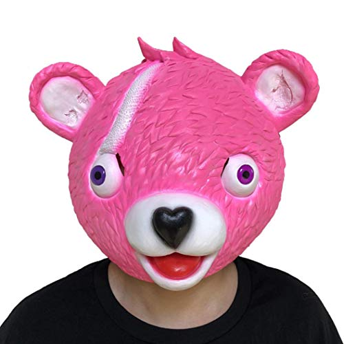 YUYOUG 2018 Halloween-Kostüm, Party-Spiel, Latex-Tier-Maske für den Ganzen Kopf, Schmusetuch, Teamführer, Fortnite Bärenkopf, Rose, Large