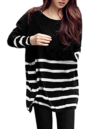 allegra-k-women-stripes-stretchy-pullover-spring-tunic-knit-shirt-xl-black-white