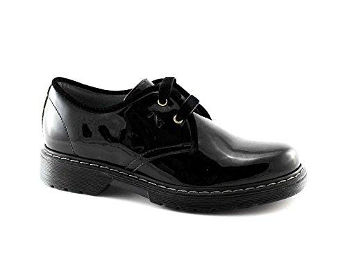 BLACK GARDENS JUNIOR schwarzes Mädchen Schuhe schnürt 31790 glatte Farbe Nero