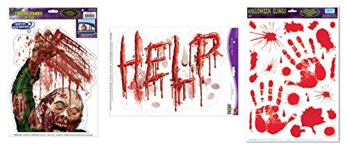 Beistle 3er Pack Halloween Fenster klammert Sich an Bundle mit Awesome Bloody Zombie Szene
