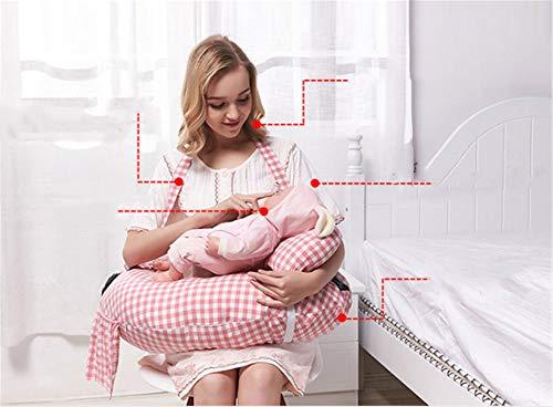 BABIFIS Coussin d'allaitement Multifonctionnel pour bébé, maternité et bébé avec Mini Oreiller et Harnais pour bébé gratuits (Bleu, Rose)