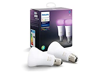 Philips Hue White & Colour Ambiance Smart Bulb Twin Pack LED (E27 Edison Screw) with Bluetooth, Works with Alexa and Google Assistant