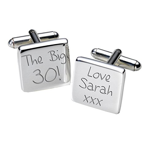 A2bir007-the Big 30. cufflinks-personalised-mens-gift-engraved - square-birthday