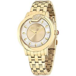 Just Cavalli Spire Women's Quartz Watch with Gold Dial Analogue Display and Blue Stainless Steel Strap R7253598502