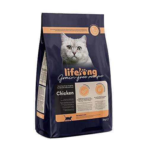 Amazon-Marke: Lifelong Alleinfuttermittel für ausgewachsene Katzen mit frischem Huhn Getreidefreie Rezeptur - 3kg