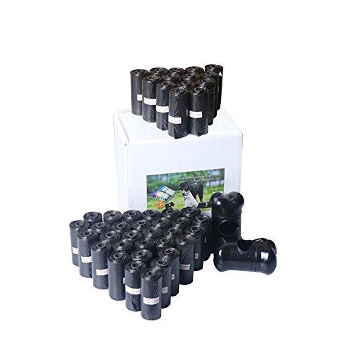 PETHOUZZ Hundekotbeutel, 42 Rollen, 630 Schwarze Taschen, mit 2 Spender und Leinen-Clips