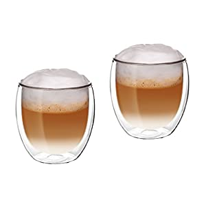 Vetro squisite–vetri a doppia parete–Thermo Occhiali–Set da pezzi con effetto ondulato–je 300ML–Ideale per bevande calde o fredde come Tee, Cappuccino, caffè, Acqua, cocktail