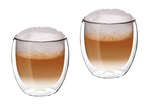 Glassquisite - doppelwandige Gläser - Thermogläser - 2er Set mit Schwebe-Effekt - je 300 ml - ideal geeignet für Heiß- oder Kaltgetränke wie Tee, Cappuccino, Kaffee, Wasser, Cocktails (1)
