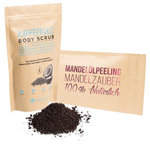 Deluxe Wellness Peeling Set bestehend aus Mandelölpeeling Mandelzauber (250g) & Kaffeepeeling Kaffeekuss (250g), Scrub für Körper und Gesicht 100% Natürlich, Pflege Geschenkset -
