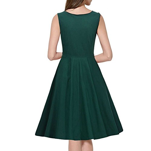 M-Queen Femme Rockabilly Robe Sans Manches Evasee Vintage Casual Swing Robe de Soirée de mariage Vert