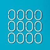 MSV 140286 - 12 anillas para cortina de ducha de plástico blanco 6 x 4 cm