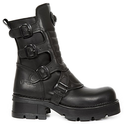 New Rock Mens Crust Leather Boots Noir