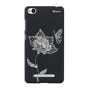 Customizable Hamee Original Designer Cover Thin Fit Crystal Clear Plastic Hard Back Case for Xiaomi Mi 4i / Mi4i (Ethnic Mehendi Flower Butterfly)