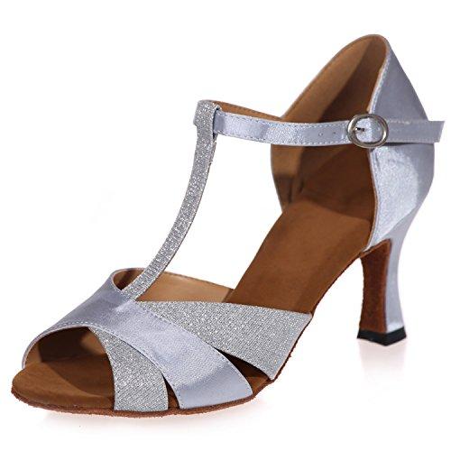 (Elobaby Damen Tanzschuhe Standard Salsa Peeptoes Glitter Jazz Latin / 7,5cm Absatz/Kleid, Silver, 38)