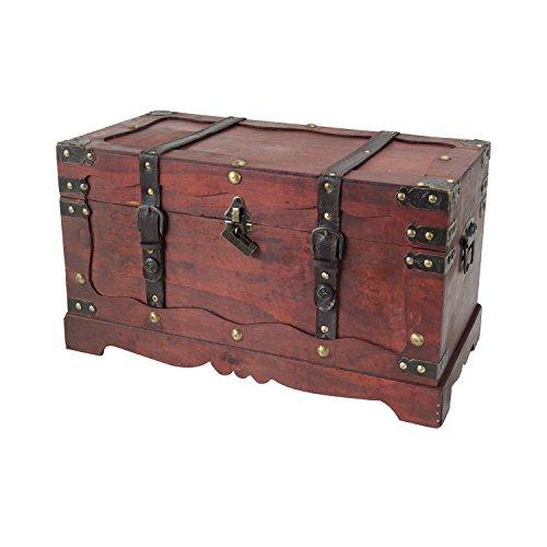 HMF 6400-150 Schatztruhe, mit Schloss, Schatzkiste, Holzkiste Frankreich, 50 x 25 x 28 cm, Aufbewahrungsbox -