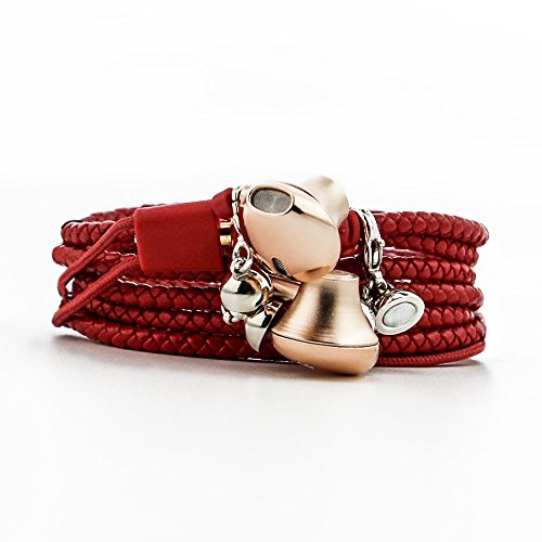 URIZONS PU Bracelet Wearable trenzado auriculares con cable auriculares manos libres con micrófono para iPhone, iPad, iPod, Nokia, Huawei, HTC, MP3 Lecteurs, Android, Smartphone, etc