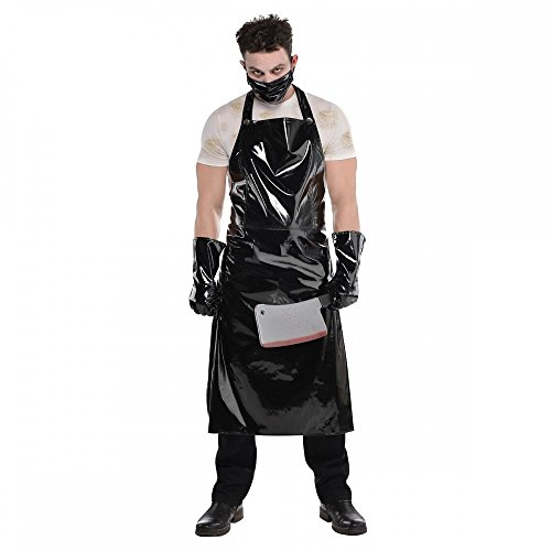Schlächter Set Halloween Herren-Kostüm Lack Schwarz Butcher Horror Serien-Mörder (Halloween Kostüm)