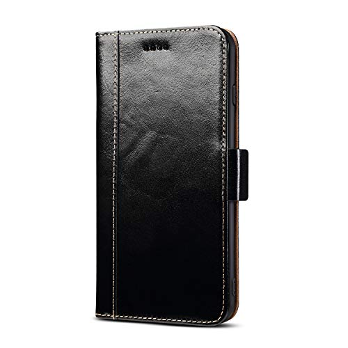 iPhone 6S Magnetic Closure Genuine Leather Case, Handmade Premium Cowhide Oil Wax Cow Leather Credit Card Slots Money Cash Pocket [Wireless Charging Compatible] Kickstand Case Flip Folio Cover (Black) - Fit Perfect Protector Screen