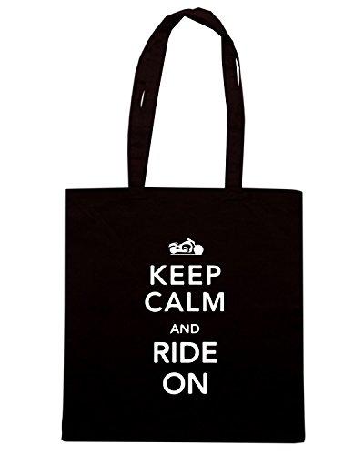 T-Shirtshock - Borsa Shopping TB0097 keep calm and ride on Nero