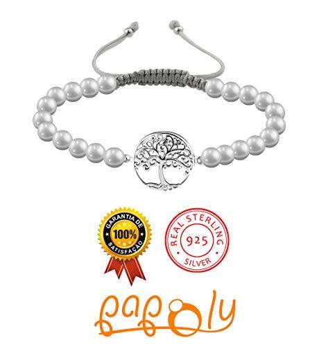 Imagen de papoly® pulseras de perla natural de agua dulce con detalle de plata de plata de ley 925, medida facil de ajustar con cierre de hilo macrame hecho a mano. pu arbol g  alternativa