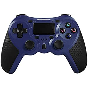 STOGA Game Controller für PS4, Wireless Vibration Feedback Controller mit 3,5 mm Kopfhöreranschluss für PlayStation 4 / PlayStation3 / PC Plattform(Blau)