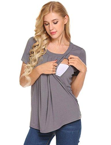 Unibelle Damen Schwanger T-Shirt Umstandsmode Stillshirt Umstandsshirt Mutterschaft Umstandstop mit Rundhalsausschnitt Navy Blau XXL, Grau