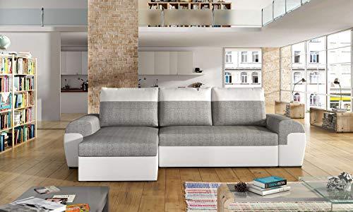 Avanti trendstore - marebbe - divano ad angolo con funzione letto e cassettone integrato, disponibile in diverse colorazioni. misure lap 264x86x147 cm (bianco-grigio)