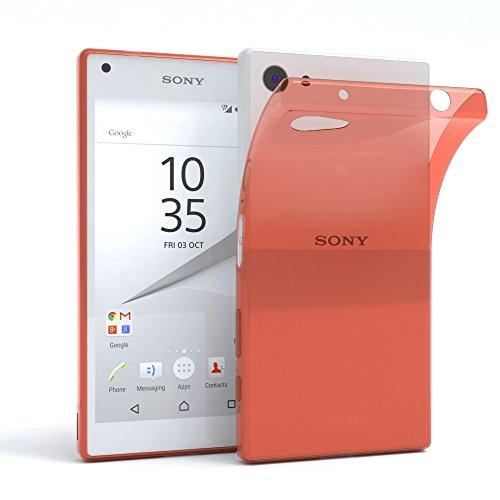 EAZY CASE Hülle für Sony Xperia Z5 Compact Schutzhülle Silikon, Ultra dünn, Slimcover, Handyhülle, Silikonhülle, Backcover, Durchsichtig, Klar Orange -