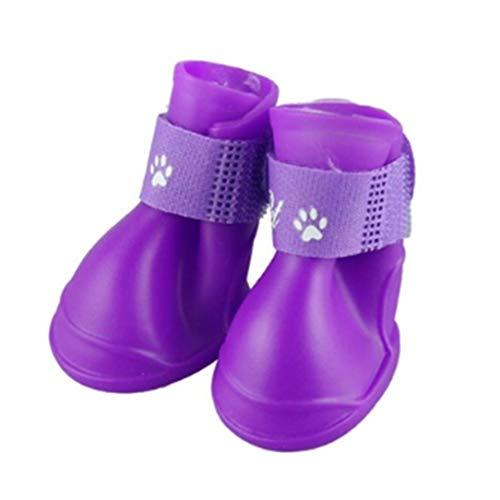 1 Pair/SET Waterproof Anti-Slip Pets Dogs Shoes Breathable PVC Solid Color Rain Boots Shoes for Pet Supplies Set Rain Boot