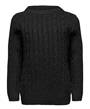 Boys Cable Knit Jumper in Black 11-12 Years