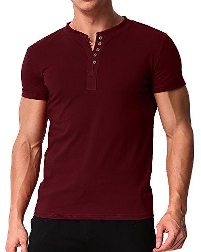 MODCHOK Herren T-Shirt Shirt Kurzarm Hemd Knopfleiste V-Ausschnitt Tiefem Ausschnitt Slim Fit 1 Rot 2XL
