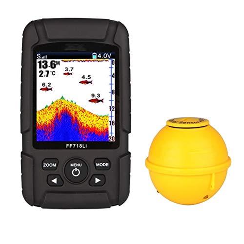 FINDYU Fisch Finder, Intelligent Sonarsensor HD-Farbbildschirm Unterwasser Visualisierung Tiefendetektor (Size : Dual Probe+Wireless Probe) Humminbird Anzeigen