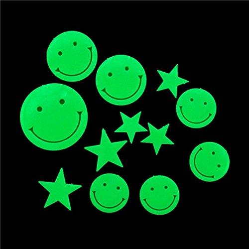 Bluelover 12pcs bagliore luminoso fluorescente parete adesivi stelle sorriso vacanze camera Wall
