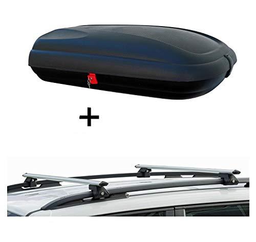 VDP Dachbox BA320 carbonlook + Relingträger CRV135 kompatibel mit Hyundai ix35 10-15