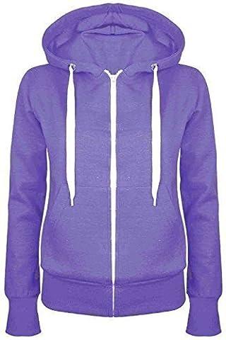 Oops Outlet Damen Einfarbig Kapuzenpulli Mädchen Reißverschluss Top Damen Kapuzenpullis Sweatshirt Mantel Jacke Übergröße 6-24 - Lila, Übergröße 2XL (44/46)
