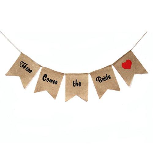 VORCOOL 5 STÜCKE Hier Kommt die Braut Sackleinen Banner Hochzeit Dekoration Bunting (Braun) (Kommt Die Hier Braut)