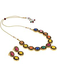 Aradhya Traditional Designer Kundan Necklace Set With Earrings For Women And Girls
