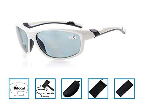Gr8sight confortevole telaio occhiali da sole lettura bifocale lettori di sole vetri colorati avvolgente designer style sport unisex uomini / donne bianca telaio grigio lenti +2.5