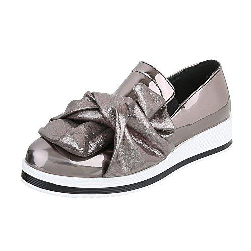 Scarpe da donna Mocassini piatto Slipper Ital-Design grigio argento