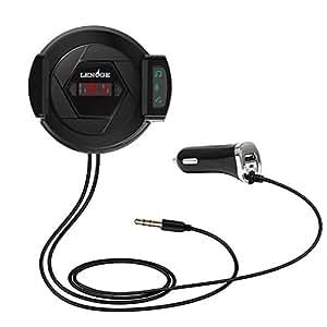 LENOGE Trasmettitore FM e Bluetooth con Supporto per telefono cellulare per chiamate a vivavoce con caricatore veloce senza fili adattatore audio 3.5 mm per porta AUX USB 5V 2.1A per iPhone Huawei And